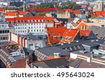 roof view of copenhagen  denmark | Shutterstock . vector #495643024
