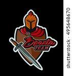 sparta team. handmade helmet ... | Shutterstock .eps vector #495648670