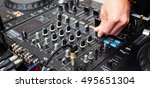 dj mixes the track in the... | Shutterstock . vector #495651304