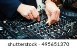 dj mixes the track in the... | Shutterstock . vector #495651370