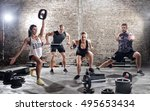 group of young muscular people ... | Shutterstock . vector #495653434
