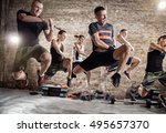 group of people jumping and... | Shutterstock . vector #495657370