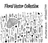 floral vector set with floral... | Shutterstock .eps vector #495660799