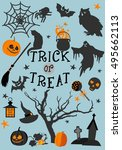 typography inscription trick or ... | Shutterstock .eps vector #495662113