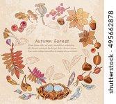 romantic autumn card. hello... | Shutterstock .eps vector #495662878