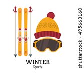 snowboard and winter sport... | Shutterstock .eps vector #495663160