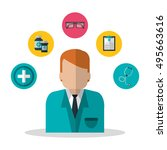 isolated medical and health... | Shutterstock .eps vector #495663616