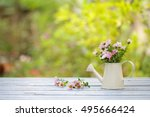 flowers in vintage water can on ... | Shutterstock . vector #495666424