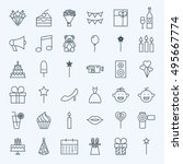line birthday celebration icons.... | Shutterstock .eps vector #495667774