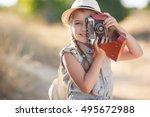 Small Child Girl Holding Camer...
