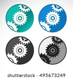 set of settings icons in circle ... | Shutterstock .eps vector #495673249