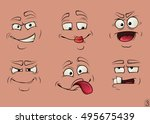 collection of funny faces | Shutterstock .eps vector #495675439