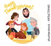 thanksgiving day in the family... | Shutterstock .eps vector #495675940