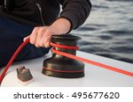 winch with rope on sailing boat ... | Shutterstock . vector #495677620