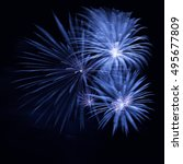 blue fireworks in the night sky | Shutterstock . vector #495677809