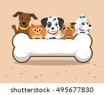 cartoon dogs with big bone | Shutterstock .eps vector #495677830