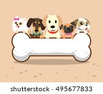 cartoon dogs with big bone sign | Shutterstock .eps vector #495677833