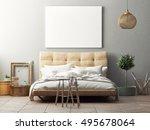 mock up poster  hipster bedroom ... | Shutterstock . vector #495678064