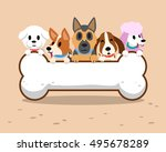 cartoon dogs with bone sign | Shutterstock .eps vector #495678289