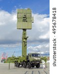 "Small photo of KUBINKA, MOSCOW OBLAST, RUSSIA-SEP 06, 2016: The mobile three-coordinate all-round looking radar system of multi-service application ""Podlet-K1"" at the International military-technical forum ARMY-2016"