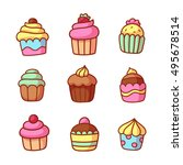 set of cute hand drawn cartoon... | Shutterstock . vector #495678514
