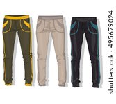 sport trousers   pants isolated. | Shutterstock .eps vector #495679024