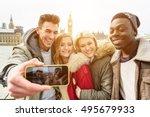 group of multiracial happy... | Shutterstock . vector #495679933
