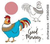 vector illustration of rooster. ... | Shutterstock .eps vector #495680488