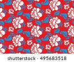 russian national flower pattern.... | Shutterstock . vector #495683518