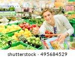 young guy choosing healthy... | Shutterstock . vector #495684529