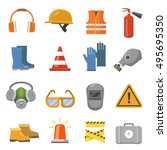 safety work flat icons set.... | Shutterstock .eps vector #495695350