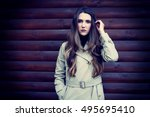 beautiful and young girl in... | Shutterstock . vector #495695410