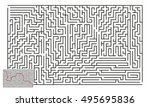 large vector horizontal maze... | Shutterstock .eps vector #495695836