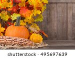 Fall Pumpkin  Squash And Corn...