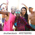 diverse young people fun beach... | Shutterstock . vector #495700990