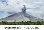 eruption of volcano with two... | Shutterstock . vector #495702283