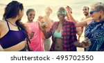 diverse young people fun beach... | Shutterstock . vector #495702550