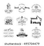beehive. spoon of honey. flower....   Shutterstock .eps vector #495704479