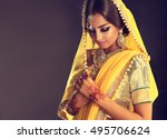portrait of beautiful indian... | Shutterstock . vector #495706624