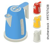 electric kettle isometric. a... | Shutterstock .eps vector #495707638
