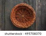 wood weave fruit basket on wood ... | Shutterstock . vector #495708370