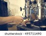coffee machine barista grinder... | Shutterstock . vector #495711490