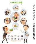 alcoholism info graphic.vector ... | Shutterstock .eps vector #495711778