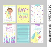 collection of 6 cute card... | Shutterstock .eps vector #495716710