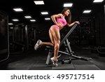 fitness girl exercising with... | Shutterstock . vector #495717514