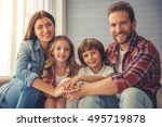beautiful young parents and... | Shutterstock . vector #495719878