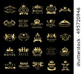hotel logo set   isolated on... | Shutterstock .eps vector #495720946