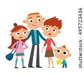 vector illustration of happy... | Shutterstock .eps vector #495723436