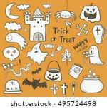 halloween set   Shutterstock .eps vector #495724498