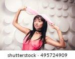 beautiful slim model woman in... | Shutterstock . vector #495724909